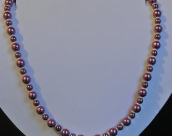 18in Dark pruple Glass Peral Necklace