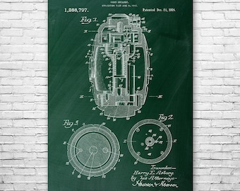 Hand Grenade Poster Art Print, Explosive, Weapon, Army, Marine, Military, Gift, Patent, Vintage, Wall, Home, Decor