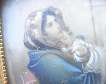 Virgine with Child Miniature - Madonna - Spanish School - Good fine work - Lovely face - Beautiful colouring - Plaque