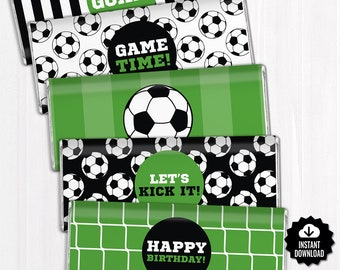 Soccer Chocolate Bar Wrappers. Birthday Chocolate Bar Wraps. Printable Party favors. Football Large Candy Bar Labels. Team - Sports Decor