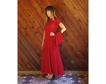 Red Ruched Maxi Dress Gown with Bustle Train - Vintage 50s - SMALL 4