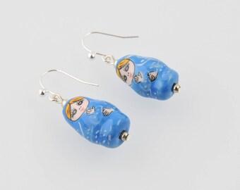 """Blue Stud Earrings """"Russian Doll"""""""