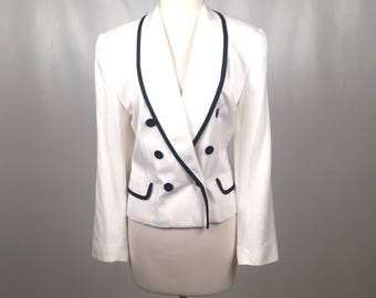 Vintage 1980s Evan Picone Double Breasted White Blazer with Black Trim Size 12