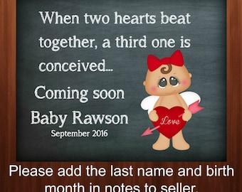 Digital download, Valentine pregnancy announcement, Facebook pregnancy reveal, baby announcement, chalkboard printable, 8x10, sign