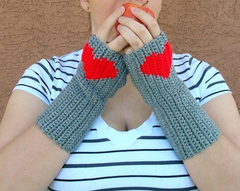 Grey Fingerless Gloves, Heart Fingerless Gloves, Crochet, Crocheted, Arm Warmers, Wrist Warmers, Fingerless Mittens Gloves MADE TO ORDER