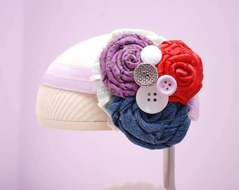 Purple, denim, red and buttons headband