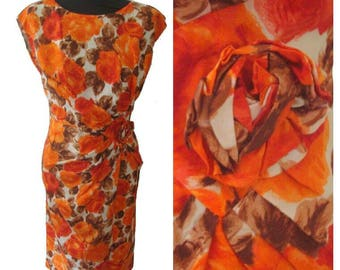 Orange Rose Print Wiggle Dress with Fabric Rose Detail • Vintage 1950s • Size 36 / UK8
