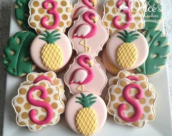 Flamingo Pineapple Tropical Hawaiian Luau Birthday Cookies