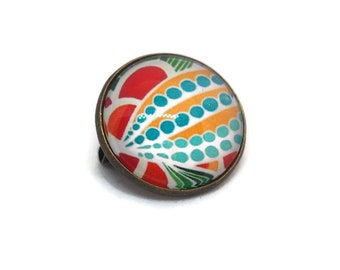 Mini brooch / badge of brass and glass dome - Wax me - yellow, turquoise and Red