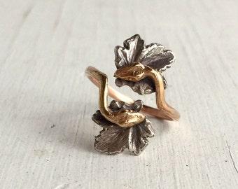 14kt Rose Gold Snake Ring, Victorian Memento Mori