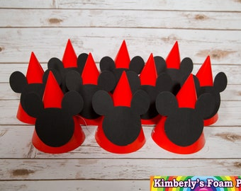 10 Mickey Mouse Foam party hats
