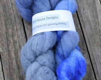 Hand-dyed Blue Faced Leicester wool fibres