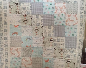 Baby quilt handmade, woodland creatures, boy or girl