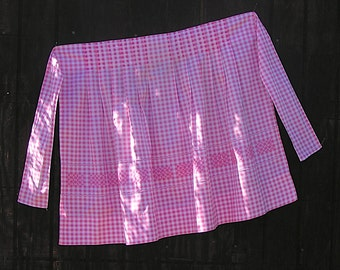 Vintage 50s Pink Gingham Cross-Stitch Hand Embroidered Apron