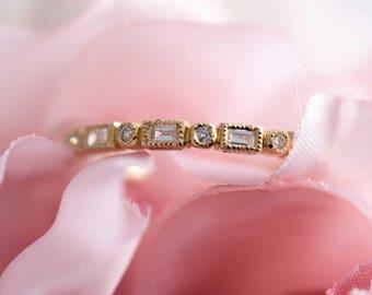 Diamond and gold wedding band - yellow gold band / diamond band / engagement ring / diamond ring / stack ring