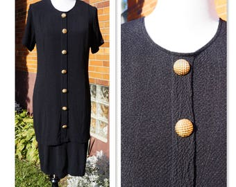 Vintage 80s Little Black Dress, Gold Tone Buttons, Crinkle Fabric, Travel Dress, Lined, Short Sleeve