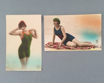 Beautiful French postcards,  set if French vintage postcards, 1940s, bathing suit