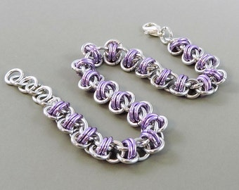 Light Purple Chainmaille Bracelet, Barrel Weave Chainmail Bracelet, Chain Mail Jewelry, Lavender Bracelet