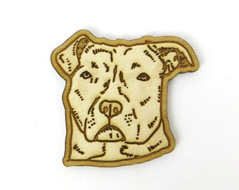 Pit bull brooch, pitbull pin, pit bull gift, dog pin, dog valentine gift, animal lover gift, birch wood, laser cut pin