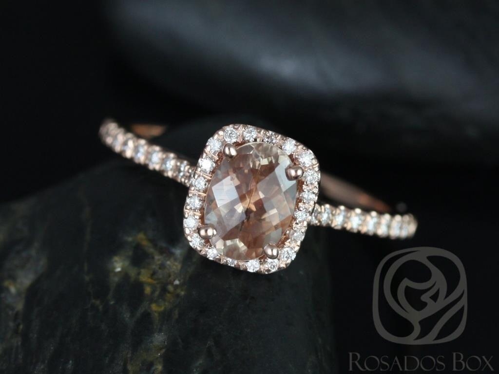 Rosados Box Romani 7x5mm 14kt Rose Gold Oregon SunStone and