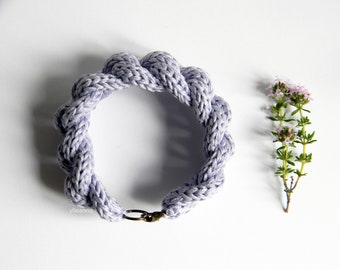 Cotton bracelet - Fiber chain bracelet - 2nd anniversary gift - Gift for her - Gift for woman - Cotton anniversary - Wisteria - Violet