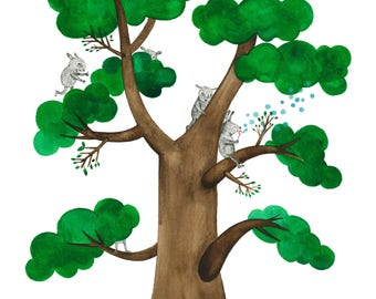 Hide and seek - Original watercolour and Ink illustration by Nana Sakata