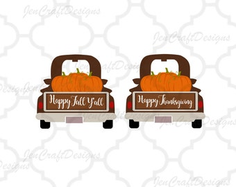Fall Pumpkins Antique Truck SVG Autumn Vintage truck SVG classic truck svg cut File, DXF, pdf, eps, png Silhouette, Cricut Digital Cut Files