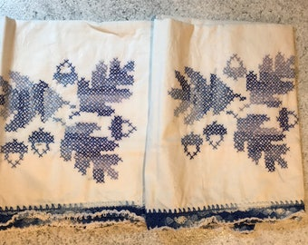 Vintage Set Cross Stitch Pillowcases Blue Leaves Acorns Crocheted Trim Pair of 2