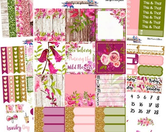 HORIZONTAL KIT, Wild Flowers, Weekly Sticker kit, Erin Condren, EC Horizontal, Planner Stickers, Sticker Kit