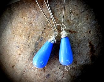 Blue Raindrops in Silver Earrings