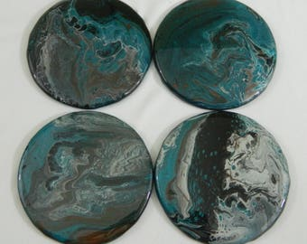 Metallic Blue Coasters, Set of 4, Home Goods, Home Decor, Kitchen Goods