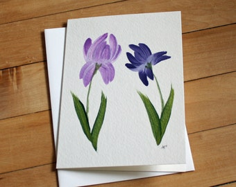 Iris Greeting Card, Blank Greeting Card, Note Card, Art Card, Any Occasion, Birthday Card, Painting, Envelope, Handmade, Hand Painted Card