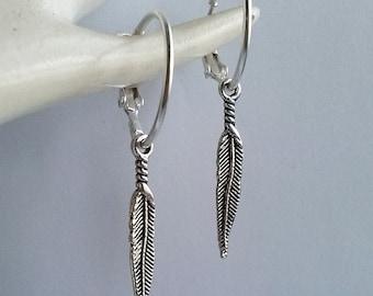 Silver Earrings , Silver Feather Earrings , 20mm Hoops , Silver Hoops , Hoop Earrings , Hinged Hoop , Leverback Hoops , Handmade Jewellery