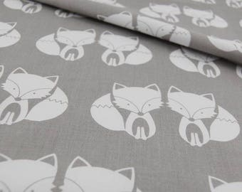 Foxes, 100% cotton fabric printed 50 x 160 cm, foxes, grey and white, 100% cotton printed pattern