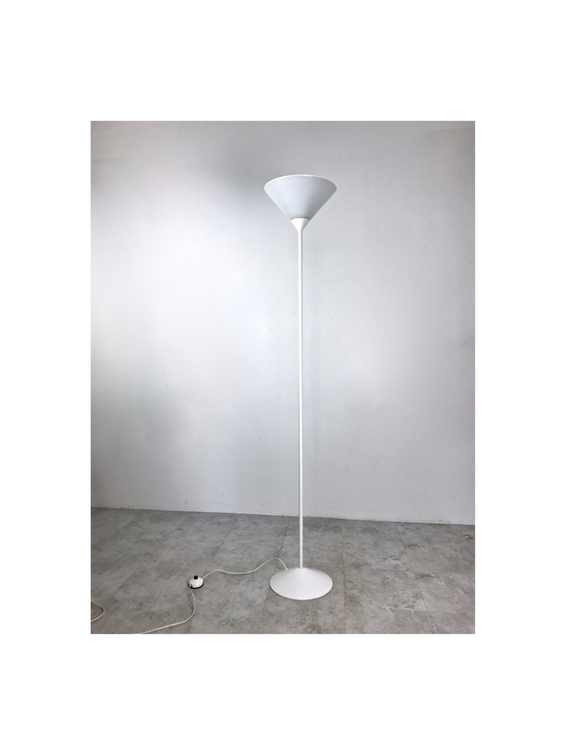 Vintage mid century modern white torchiere glass cone floor lamp vintage mid century modern white torchiere glass cone floor lamp france 1970s mozeypictures Images