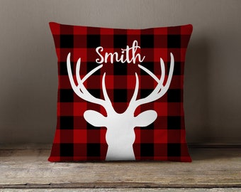 Holiday Pillow, Christmas Pillow, Cabin, Red & Black Buffalo Check, Rustic, Personalized, Lumberjack, Farmhouse Style: Deer Red