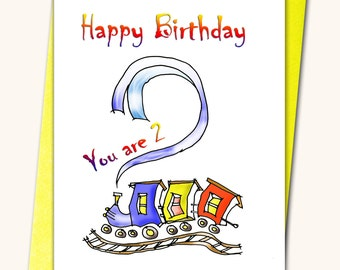 2nd Birthday card, Children, Kids, Personalised cards, Any name on the cards