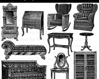 Victorian Furniture Clip Art Vintage Printable Hall Tree Couch Chair Table Desk Illustrations Digital Stamp PNG JPG Formats