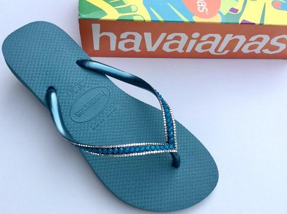 Blue Havaianas Slim Flip Flops Azure Mineral Teal Turquoise Sea w/ Swarovski Rhinestone Jewel Beach Bridal Wedding Bling Slipper Custom Shoe