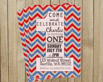 Red and Blue Chevron One First Birthday Invitation, Custom Digital File, Printable