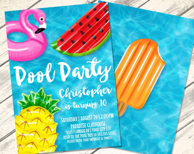 Pool Party Invitation - Flamingo Birthday, Flamingle, Pool Party, Summer Party    Editable Text - Instant Download PDF Printable