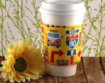 Fabric Coffee Cozy / Retro Road Trip Coffee Cozy / Road Trip Coffee Cozy / Coffee Cozy / Tea Cozy