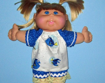 "Cabbage Patch Kids Doll Clothes, Top and Short Set, 14"" or 15"" Doll Clothes, Adoptimals  Girl Doll Clothes"
