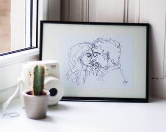 "Art Sketch ""Lovers"" with A4 black frame"
