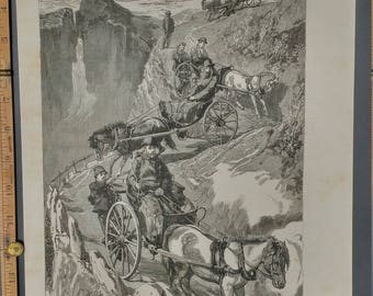 The Prince of Wales 1885 in Norway Descending the Stalheimsklev from a sketch by Mr. Sydney P. Hall. Large Antique Engraving.