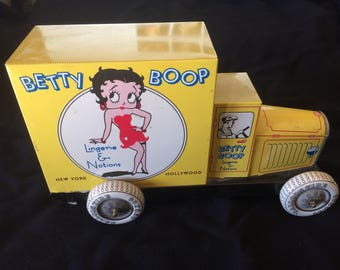 Vintage Tin Litho Toy, Tin Truck, Betty Boop Truck, Lingerie & Notions New York Hollywood, K.F.S. Fleischer Studios - 1990