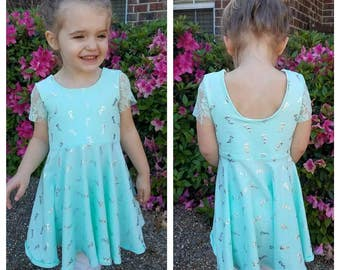 TWIRLY DRESS Infant Toddler pick your fabric (fabric on model sold out)  (narwhal and dreamcatcher sold out)