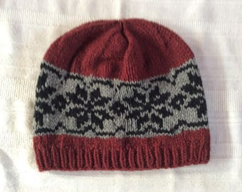 Snowflake Hat (Burgundy, Black, & Gray) - 5226