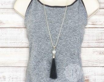 Silver Druzy Tassel Necklace, Long Tassel Necklace, Silver Drusy Necklace, tassel statement necklace