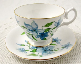 Queen Anne Tea Cup and Saucer with  Blue Flowers, Vintage Bone China